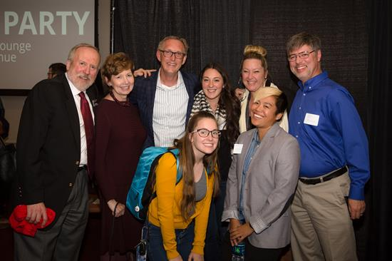 Dean Kaptain with MEIS students, staff, and Chancellor Horrell.