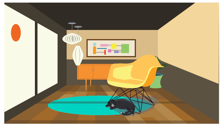 designed living room with a cat