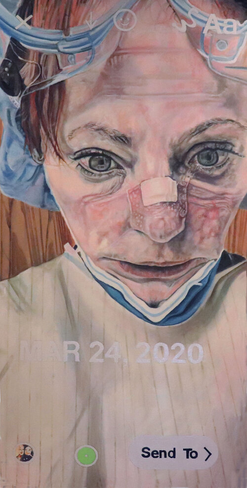 Painting of healthcare worker