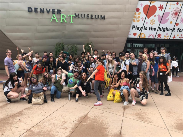 lynx campers in front of the Denver Art Museum
