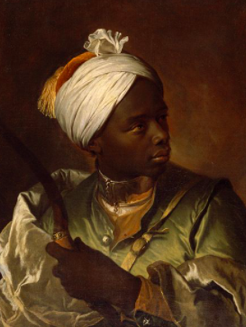 Young Black Man Carrying a Bow,